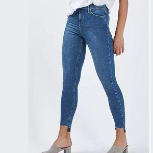 Topshop Moto Stepped Hem Skinny Jeans High Waist